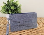 Gathered Bow Wristlet Clutch - Navy Essex Linen, Navy Zipper - Date Night, Evening Wedding Accessories, Gifts under 30