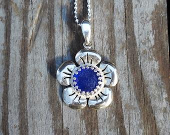 Genuine Beach Sea Glass Sterling Silver Crown Bezel Flower Pendant - Cobalt