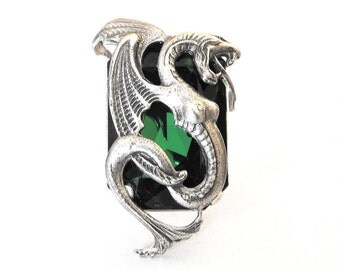 Large Gothic Ring Green Swarovski Ring Silver Statement Ring Dragon Fantasy Ring Game of Thrones Ring Gothic Ring Gothic Jewelry