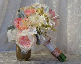 Rose Gold Bridal Bouquet and FREE Boutonniere Ivory Pink Peach Peony Real Touch Rose