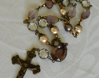 LAVENDER GEMSTONE ROSARY crucifix vintage repurposed jewelry necklace pendant handmade amethyst pearl paris  atelier paris on etsy