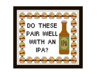 Bobs Burgers Cross Stitch Pattern - Modern Cross Stitch Pattern - IPA Burger Cross Stitch