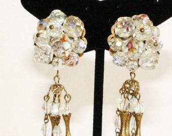 Vintage 1960's Signed Hobe Crystal AB Cluster Dangle Drop Chandelier Clip-On Earrings