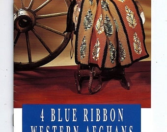 4 Blue Ribbon Western Afghans Crochet Pattern Leaflet The Pattern Library vol 3 Book 16