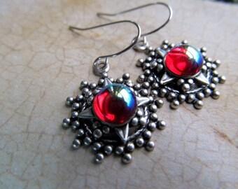 Game of Thrones Jewelry Dragon's Breath Opal Earrings Gothic Earrings Art Nouveau Fire Opal Earrings Art Deco Iridescent Earrings-Sunburst