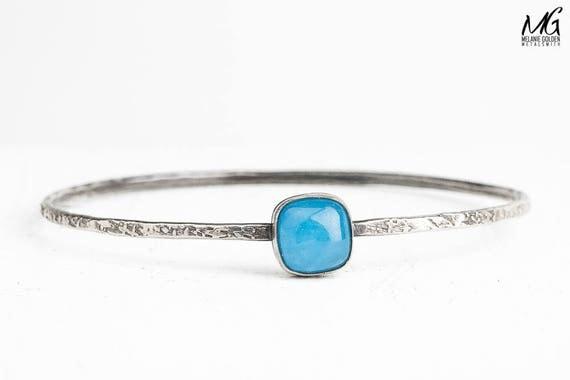Blue Jade Gemstone Bangle Bracelet in Sterling Silver