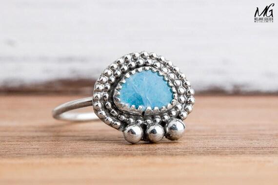 Blue Boulder Opal Ring in Sterling Silver - Size 7