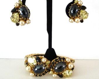 D & E Juliana Clamper Bracelet Matching Earrings Black Hematite Faux Pearls Jonquil Pear Shape Stones Faceted Black Stones TreasuresOfGrace