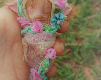 sweet  ooak cocoon pink  tiny fairy fairie bug