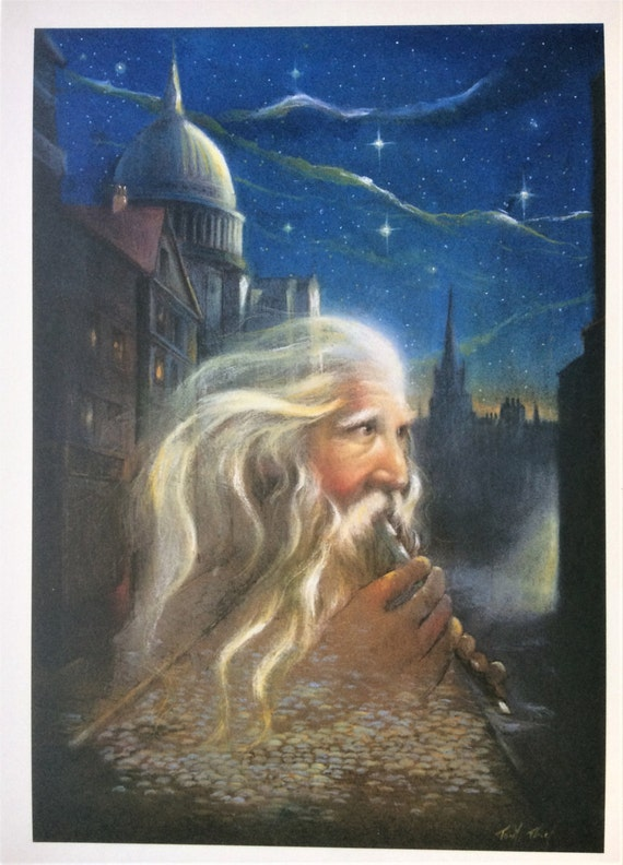 The Old Flute Player (Color) Blank Greeting Card by Tony Troy