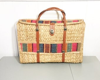Vintage Boho Woven Straw Tote Bag - Straw Market Bag - Overnight Bag - Large Straw Tote - Bohemian Style - Mexican Striped Beach Bag Tote