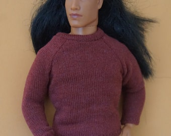 Barbie clothes checked pants and copper red sweater for Ken