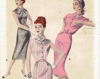 50s Shirtwaist Dress Pattern Butterick 7656. Capelet or Convertible Collar - Slim Skirt - Button Front Dress. Size 16 Bust 34.