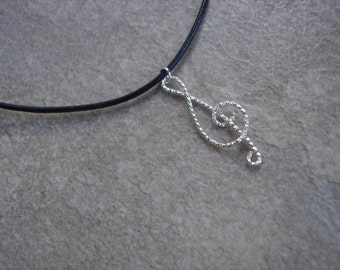 Upcycled Treble Clef Leather Charm Necklace, Music Lover's Jewelry, Musician Necklace