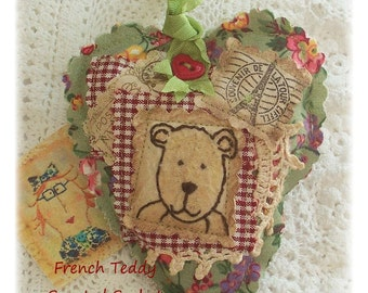 French Teddy- Scented Sachet, patchwork, primitive hand drawn, applique, hand embroidered in Australia