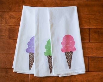Ready to Ship, Ice Cream Cone Kitchen Towel, block print, pink purple or green,  flour sack towel