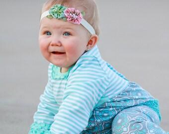 Blue & Pink Taffeta Flower Headband - Flower Headband, Baby Headband, Soft Headband, Newborn Headbands, Infant Headbands