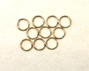 10pcs  5mm  22guage Jump Rings 14k Gold Filled Round Closed Soldered  22ga Wire Connector / Findings / Yellow Gold 92065