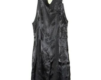90s Oriental Black Vintage Satin Dress Small