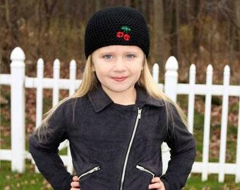 Skull Cherry Beanie - Girls Beanie - Girls Winter Hat - Goth Girl - Rockabilly Hat - Gift for Her - Girl Alternative  - Cherry Lover