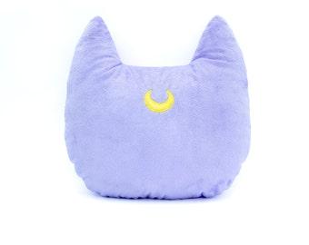Sailor Moon Luna Inspired Cat Head Silhouette Decorative Minky Fleece Pillow - MADE TO ORDER