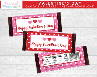 Valentine's Day Candy Bar Wrappers | Happy Valentine's Day | Red & Pink | Non-Personalized | Printable DIY Digital File | INSTANT DOWNLOAD