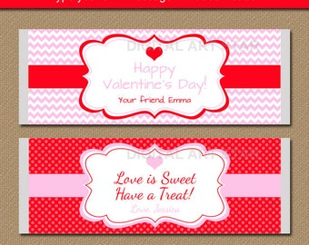Valentines Day Chocolate Bar Wrappers - EDITABLE Printable Candy Wrappers - Pink Red Valentine Party Favors - Valentine Candy Wrappers V2