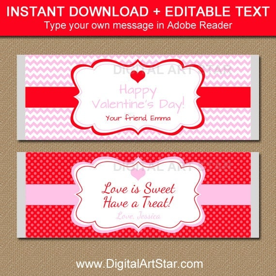 Valentines day chocolate bar wrappers editable printable for Valentine candy bar wrapper templates