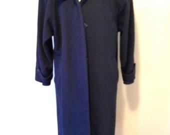 Womens Size M (10) Forecaster NAVY Wool Winter COAT Long Full Length Vintage Overcoat
