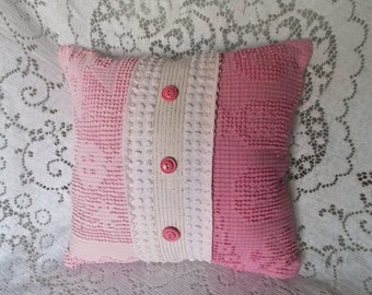 Chenille Pillow, Pink Pillow, Handmade Pillow, Vintage Chenille Pillow, Nursery Pillow, Throw Pillow, Accent Pillow, Cotton Pillow,