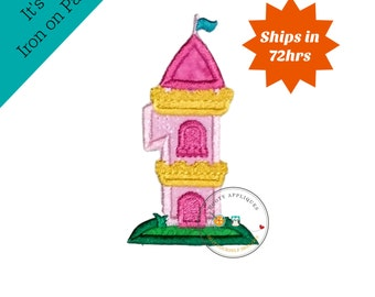Princess castle birthday number one machine embroidered patch, fast shipping iron on girl birthday applique, Pink and yellow number 1