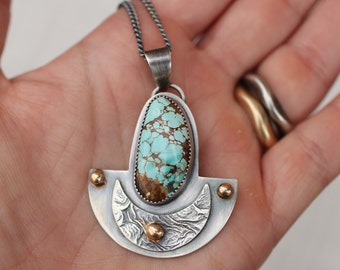 Turquoise Arc Necklace, Silver and Gold Pendant, Crescent Moon Pendant, Reticulated Silver Pendant, Mixed Metal Pendant