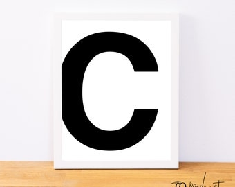 Letter C, Typography Print, Letter Print, Printable Monogram, Printable Art, Minimal Decor, Black and White Wall Art, Digital Download