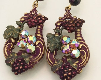 Beautiful Winery One of a Kind Earrings - All Vintage Components, Assemblage