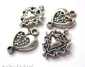 Silver Heart Charms, Connector Links, Bracelet Component, Earring Dangles, Baroque Renaissance Filigree Metal, DIY Jewelry Making - 4 Pieces