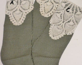 Stocking with Vintage Doily Accent, Christmas Decor, Primitive Stockings