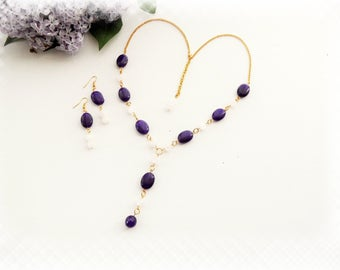 Gemstone Lariat Necklace And Earrings Set - Purple and Rose Quartz Necklace - Y Shaped Necklace & Dangle Earrings Set