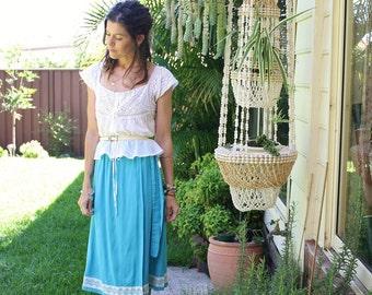 70s Wrap Skirt, Bohemian blues High waist Midi skirt w/ Lace, Medium 3840