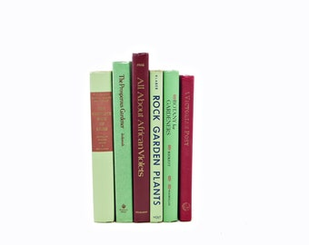 GARDEN Books, Gardening Book Collection, Decorative Books, Vintage Books, BOOk Gift, House Plants, Old Book Set, Green Books, Book Decor