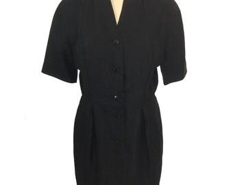 vintage 1980's FERRAGAMO linen dress / little black dress LBD / dress with pockets / shirtwaist dress / women's vintage dress / tag size 10