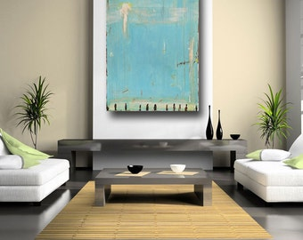 large abstract painting original art contemporary modern home decor blue painting huge on canvas bohemian textured acrylic St Maarten