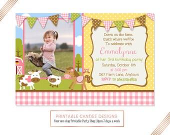 Girl Farm Invitation, Pink Farm invitation, Farm Party invite, Barnyard birthday party