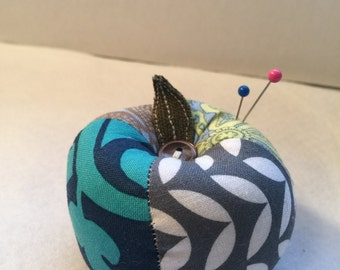 Patchwork Apple Pin Cushion in Grey and Blue