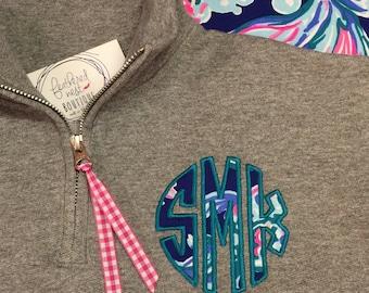 Lilly Circle Monogram 1/4 Zip Sweatshirt - Lilly Fabric Monogrammed Quarter Zip Popover - Preppy Monogram Pullover Sweatshirt - Lilly P