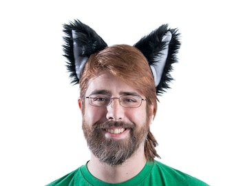 Pawstar CANINE EAR HEADBAND Pick Color Natural Nuatral Fox Dog Wolf Ears Black White Grey Gray Brown Tan furry kitty kitsune faux fur 3064