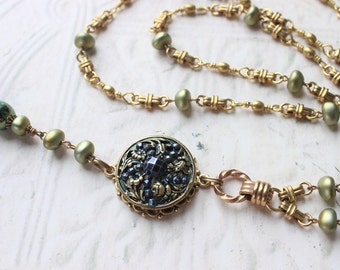 Antique Button Necklace Long Beaded Chain Necklace, Blue and Green Victorian Jewelry, Vintage Button Jewelry veryDonna