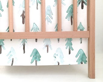 Crib Skirt Fir Trees. Baby Bedding. Crib Bedding. Crib Skirt Girl. Baby Girl Nursery. Tree Crib Skirt. Woodland Nursery.