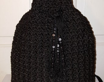 THE SAK BACKPACK // 90's Crochet Knit Tassel Wooden Beads See Goth Witch Purse Black