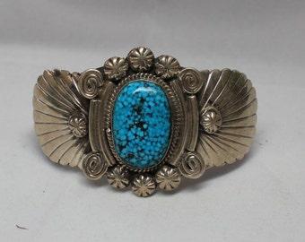 Navajo Sterling Silver and Kingman Turquoise Bracelet