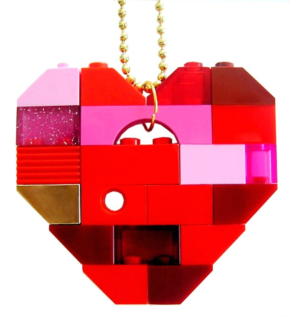 """Collectible heart (Single thickness) Model 7 - made from LEGO (R) bricks on a 24"""" Silver/Gold plated ballchain"""